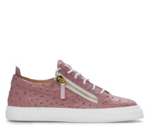 Rose ostrich printed leather low-top sneakers NICKI