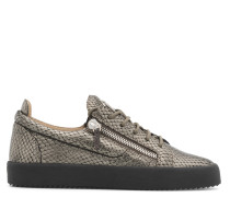 Grey python-embossed calfskin leather low-top sneaker with logo FRANKIE