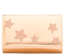 Rose gold patent leather clutch with stars CLEOPATRA STAR