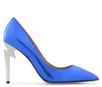 Mirrored blue patent leather pump G-HEEL