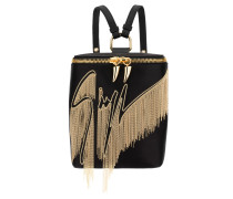 Black satin and gold embroidered backpack ARLEY
