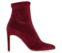 Red glitter velvet stretch fabric boot CELESTE