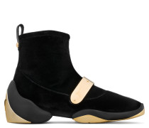 Black stretch velvet high-top sneaker with gold metal plate LIGHT JUMP HT2