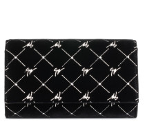 Black velvet clutch with 'Logo' motif REGAL G