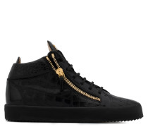 Black crocodile embossed patent leather mid-top sneaker KRISS