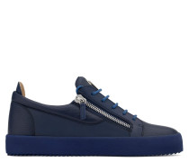 Blue leather low-top sneaker FRANKIE