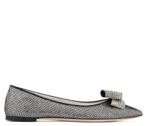 Grey fabric ballet flat with glitter finishing KAROLINA