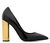 Black patent leather pump with chunky heel AYDA