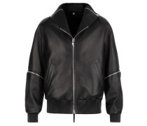 Black leather jacket with shearling fur inside and zips CHADWICK