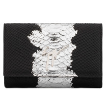Black and silver python-embossed calfskin leather clutch CLEOPATRA METALLIC
