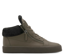 Green leather mid-top sneaker with fur inside KRISS WINTER