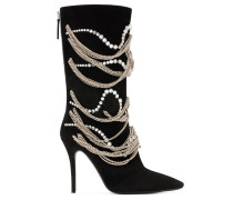 Black suede boot with crystals and chains SHEENA