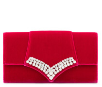 Red velvet clutch with crystals TRICIA