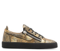 Multicolour python-embossed calfskin leather low-top sneaker FRANKIE