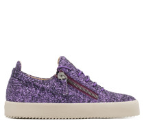 Violet fabric low-top sneaker with glitter finishing CHERYL GLITTER
