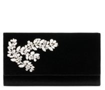 Black velvet clutch with crystals CLEOPATRA CRYSTAL