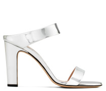 Silver patent leather mule with chunky heel ALIZÉE