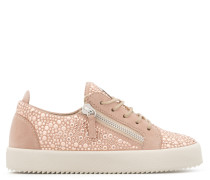 Pink suede low-top sneaker with crystals GAIL CRYSTAL