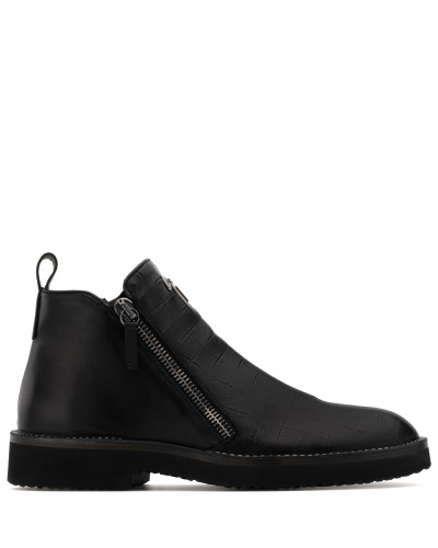 Black crocodile-embossed leather boot AUSTIN