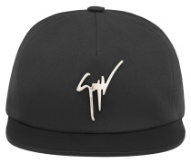 Black leather and fabric hat with logo KENNETH