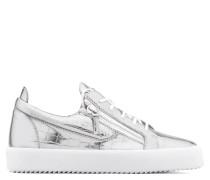 Silver crocodile embossed leather low-top sneaker GAIL