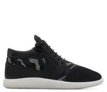 Blue camouflage and black leather 'runner' sneaker RUNNER