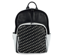 Black leather backpack with metal studs HERITAGE94