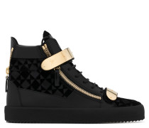 Velvet printed leather high-top sneaker with metal plate COBY
