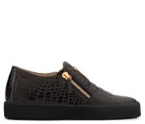Brown crocodile-embossed leather slip on sneaker SHANE