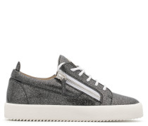 Grey patent leather glitter low-top sneaker with logo GAIL