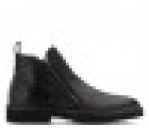 Black crocodile-embossed leather boot AUSTIN