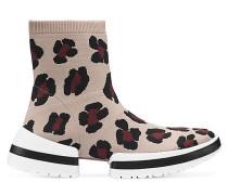 Der Sw-612 Sockenstiefel-Sneaker Mit Leopardenmuster - Tan