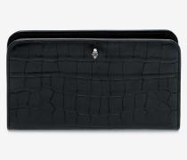 Brieftasche mit Krokodillederprägung und Reißverschluss