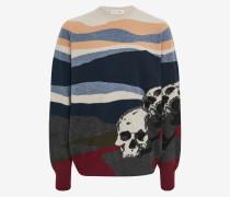 Pullover mit szenischer Skull-Intarsie