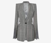 Jacke mit geschlitzten Ärmeln und Glencheck-Muster