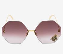 Sonnenbrille mit schmuckverziertem Käfer