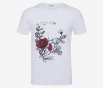 T-Shirt mit gotischem Rose Skull-Print