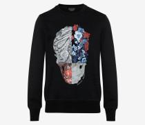 Sweatshirt mit Patchwork-Skull