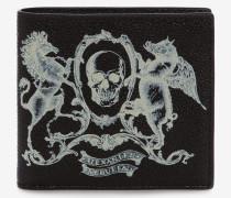 Brieftasche aus Leder mit Wappen-Print