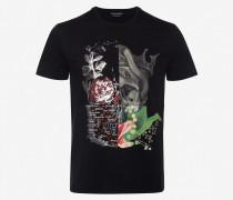 Patchwork-T-Shirt mit Skull
