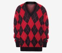 Pullover mit V-Ausschnitt aus Wolle und Mohair mit Argyle-Muster