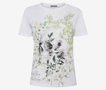Weißes T-Shirt mit Garten und Skull