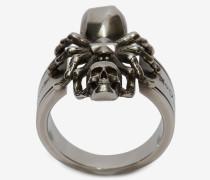 Ring mit Spinne und Skull