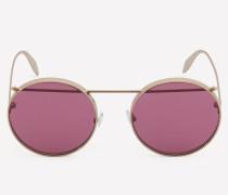 Runde Sonnenbrille aus Metall mit Piercing-Detail