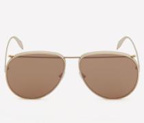 Aviator-Sonnenbrille aus Metall mit Piercing-Detail
