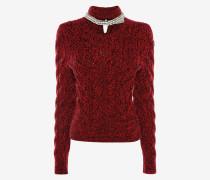Pullover mit Zopfmuster und Crystal Rope