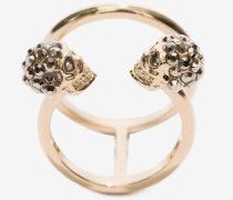 Doppelring mit Twin Skull