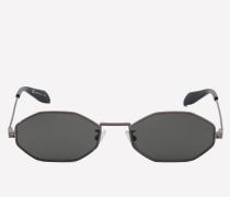 Achteckige Sonnenbrille mit Piercing-Detail