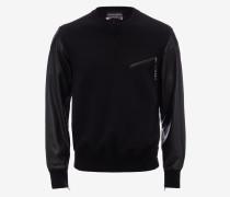 Patchwork-Sweatshirt aus Leder
