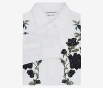 Popelinehemd mit Rosen-Stickerei